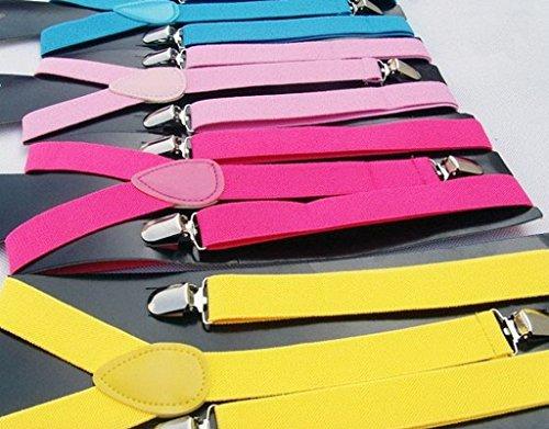 Smile YKK Jarretelles Brretelle Elastiques Dos Y-shape Suspenders Bleu