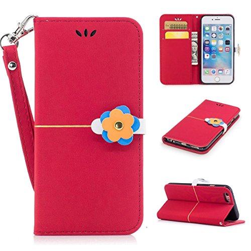 iPhone 6plus Coque,Fodlon® Mode Or Velours prune Fleur Tête Machines à sous avec Cordon Téléphone Housse -Marine Gros rouge