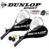 Dunlop Blue Edt. Squashset 2x Squashschläger BIOTEC LITE + 3x Bälle & 2x Hüllen