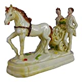 #4: Valentine Romantic Love couple Ride on Horse Cart Statue - Handicraft Decorative Home Interior & Table Décor Figurine / Marriage Wedding Anniversary Antique Gift item