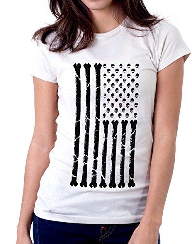 t-shirt USA teschi - ossa S M L XL XXL maglietta by tshirteria bianco