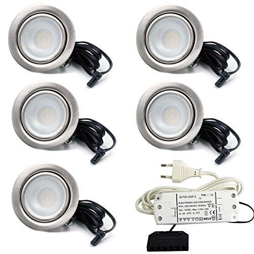 5er Set LED Einbaustrahler Möbelleuchte Möbeleinbaustrahler flach 2,7W LED 12V/ DC warmweiß 3000K / 200Lm Farbe Edelstahlgebürstet + 15Watt LED Trafo 230V