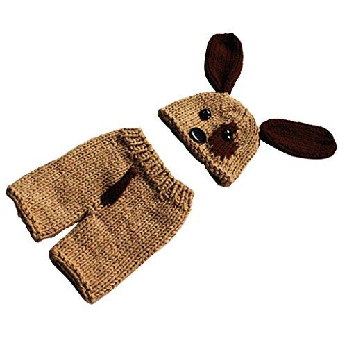 (MagiDeal Neugeborenes Baby Jungen Hündchen Kostüm Fotografie Requisiten Foto Props Häkelarbeitknit Outfit Hut + Hose)