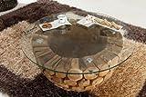 3-3-2-1049: Couchtisch - Beistelltisch - mit Glasplatte - aus Mosaik-Altholz - 85cm Durchmesser