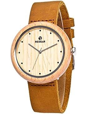 XLORDX Damen Holz Armbanduhr Naturholz Bambus Uhr Quarz Echtes Leder Braun Uhren Beige