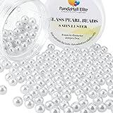 PandaHall Elite 8mm Sobre 200Pcs Ronda perla de cristal de saten Lustre para hacer las joyeria,Blanco,Paquete de Caja Ronda