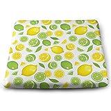 Houity - Cojín Cuadrado de 100% poliéster con núcleo de Almohada, cojín para Silla Tatami, 33,8 x 38,1 cm, Color Amarillo limón, Verde limón y limón