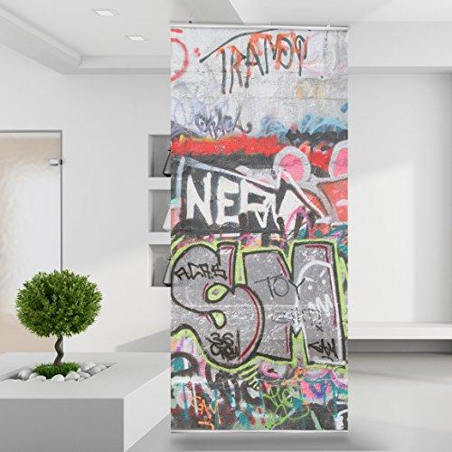 Raumteiler Grafitti Urban Ghetto Spray Farbe Kunst Art schwarz weiß Wand Stoff Mauer Bild Zimmer Dekoration Modern XXL Bahn einteilig No.76-2 (Kunst Spray-farbe)