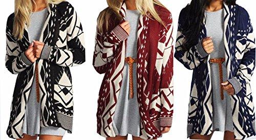 Red Olives® Women's Halloween Skull Drape Aztec Long Knitted Cardigan Ladies Owl Leopard Open Jumper Knitwear Top UK 8-22
