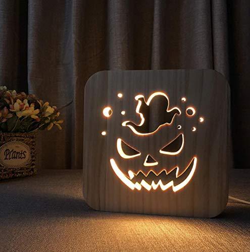 3D Holz Lampe Halloween Kürbis Tischlampe LED Cute Ghost Night Light mit USB Power Room Decor für Kinder Jungen Mädchen, 7,5 Zoll