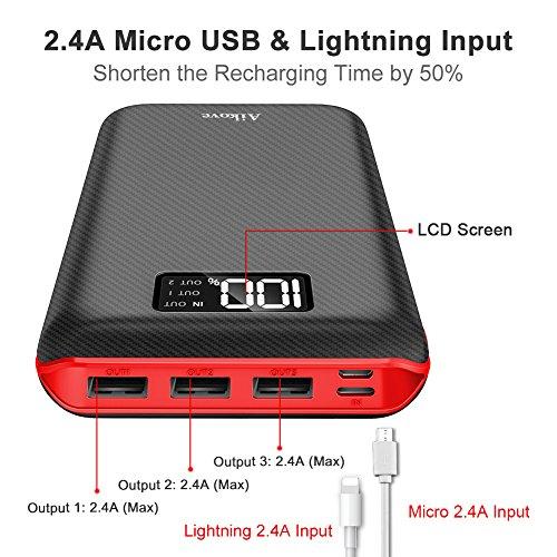 Power Bank 24000mAh Cargador Móvil Portátil Batería Externa con Entrada Doble y 3 Puertos de Salida USB & Pantalla Digital para iPhone X/8/8Plus  iPad Samsung Galaxy S9/S8  Tablets y mucho más
