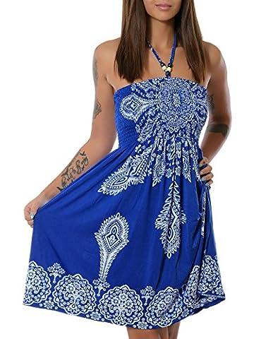 Damen Sommerkleid Strandkleid (weitere Farben) No 13765, Farbe:Blau (N304);Größe:One
