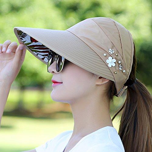 Lgk & fa estate sandali da donna per il tempo libero estivo Cappello all-match Marea UV coreano primavera estate pieghevole parasole Cap, A watermelon red Khaki