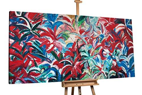 'Blütendschungel' 200x100cm | Abstrakt Rot | Modernes Kunst Acrylbild