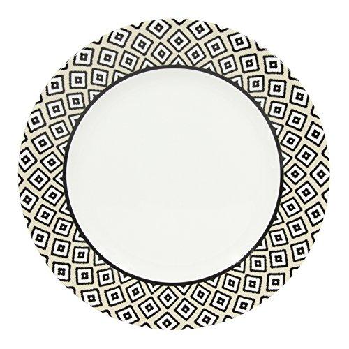 Novastyl 8017977 Lot de 6 Assiettes Plates, Céramique, Noir, 26,5 cm