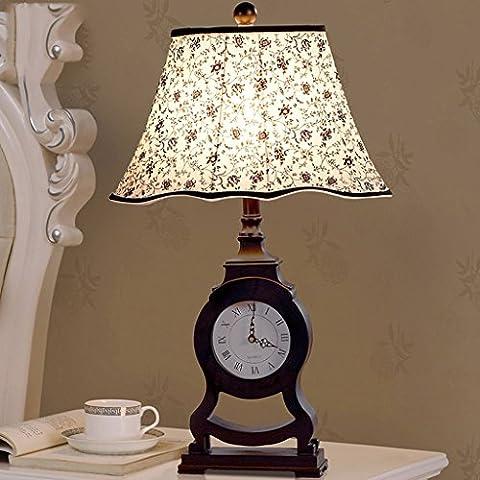 QKR&Lámpara de mesa fina, La nueva lámpara de noche clásica lámpara del dormitorio Europea creativo reloj retro país de América que viven lámpara de la sala de estudio de Lámpara de mesa