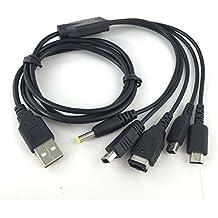 Link-e ® : Cable chargeur USB 5 en 1 pour consoles Nintendo 3DS (DSI), GBA SP, DS Lite, manette Wii-U et SONY PSP