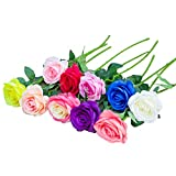 RETON 10 Tallos Artificial Seda Rosa Ramo de Flores Natural para Boda, Fiesta, Hogar, Jardín, Decoración de Oficina - 50 cm