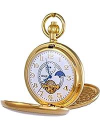 Ogle Vintage, reloj de bolsillo color cobre doble tapa, diseño Tourbillon, fases de la luna, cuerda mecánica, reloj de bolsillo automático/dial dorado