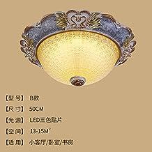 Cttsb De estilo europeo techo de la lámpara luz de la habitación redonda simple Europa sala de luces del pasillo de la sala luces LED de iluminación porche, lámparas americanas, b50cm parches de tres colores
