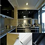 TOTAL HOME :Glossy DIY Decorative Film PVC Self Adhesive Wall Paper Furniture Renovation Wall Stickers Kitchen Cabinet Waterproof Wallpaper (Size: 5 m, Color: Black)