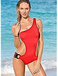 Épaule solide bicolore double boucle chaîne mode pièce bikinis sexy maillot de bain