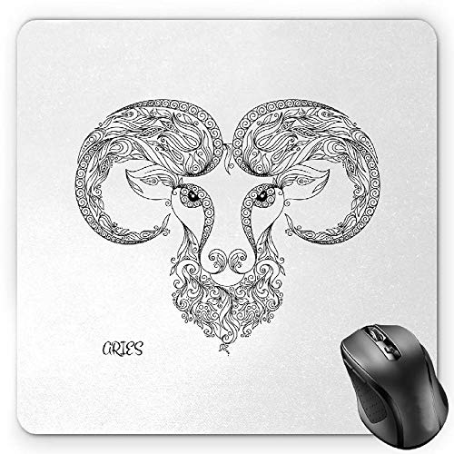 BGLKCS Zodiac Aries Mauspads Mouse Pad, Line Art Style Horoscope Symbol Henna Tattoo Design Floral Curls Spirals, Standard Size Rectangle Non-Slip Rubber Mousepad, Black and White -