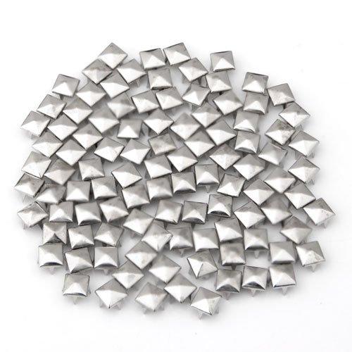 100X 8X8mm Metall DIY Pyramiden Nieten Ziernieten Gothic Silber Farbe