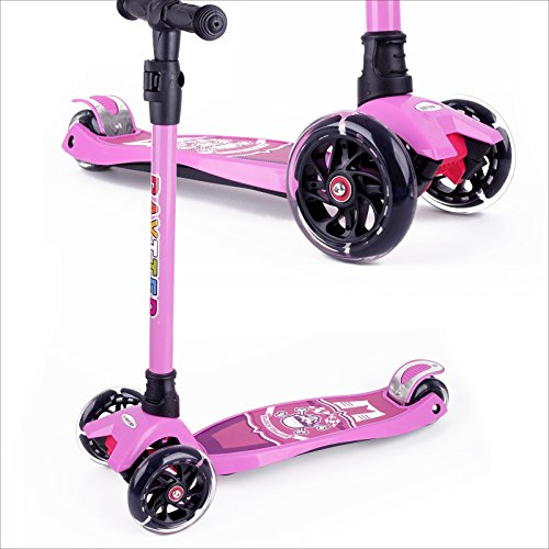 BAYTTER Kinderscooter Dreirad mit verstellbarem Lenker Kinderroller Roller Scooter LED Blinken für Kinder ab 3 4 5 Jahren, bis 100kg belastbar (Modell A in Rosa)