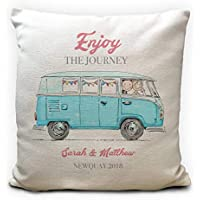 Personalised VW Camper Van Wedding Cushion Cover, Enjoy the Journey, Heavy Linen Material, 40cm 16 inches