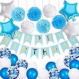 VSTON Buon Compleanno Banner per Ragazze, Palloncini Compleanno Palloncini Decorazione Bianco Blu per Bambini Uomini Palloncini Compleanno Palloncini 12 Pollici Palloncini Fiori stagnola, 42 Pezzi