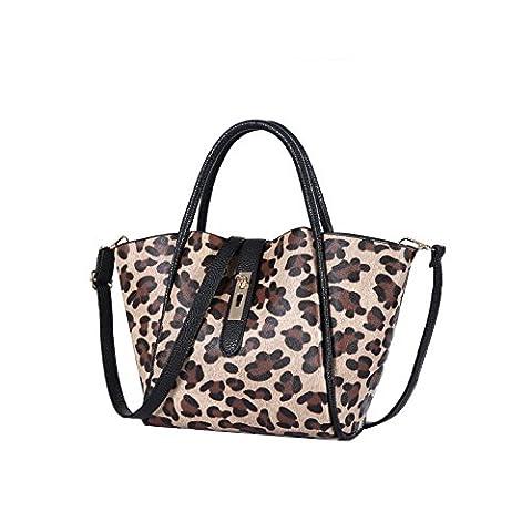 Emotionlin Femmes Épaule Grand Designer Handbags Tote Shoulder Mode Cuir Sacs (Leopard)