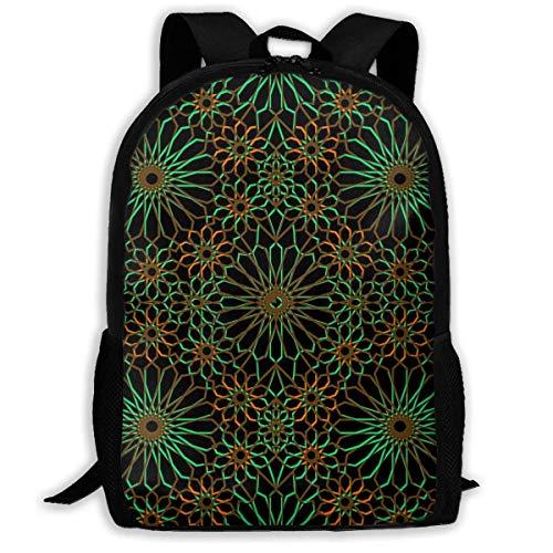 Schulrucksack Geometrische islamische Schablonen-Kunst Rucksack wasserdichte Schultaschen Durable Travel Camping Rucksäcke für Jungen und Mädchen