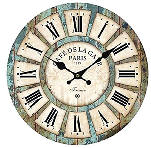 Ailing antique/casual / country wood round indoor, orologio da parete a batteria,f,m