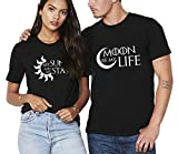 Shirts de Couple Partenaire T-Shirts pour Amoureux Tee Shirt Imprimé Sun Moon...