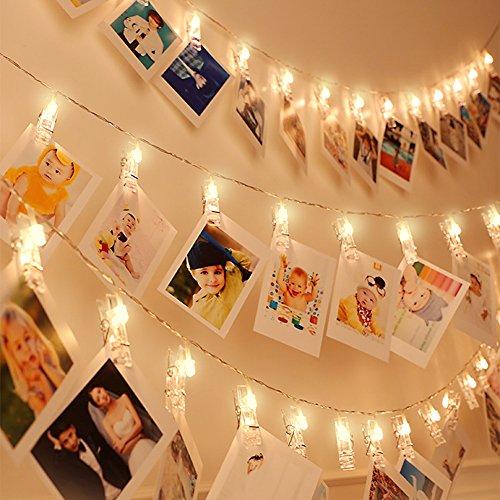 30 LED Luz de tira con clip para poder poner la foto Decorativa LED luz de tipo pinza, 8 Modos De Iluminación, Control Remoto, Blanca Caliente Cadena de luz Para Colgar Fotos, Tarjetas y trabajos artí