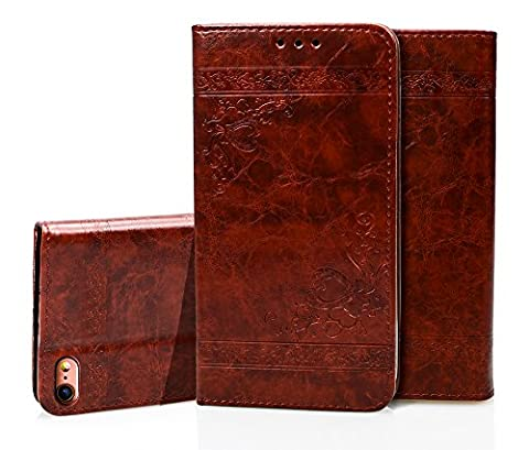 iPhone 6 Case, iPhone 6S Wallet Case, COZY HUT Luxury Retro Genuine Leather Magnetic Flip Wallet Case iPhone 6/ 6s Dark Brown, Magnetic Closure Card Slots Money Pouch, Retro Leather Wallet Case Purse Protective Cover Stand Feature Flip Folio Book Case for iPhone 6/6s - Dark brown