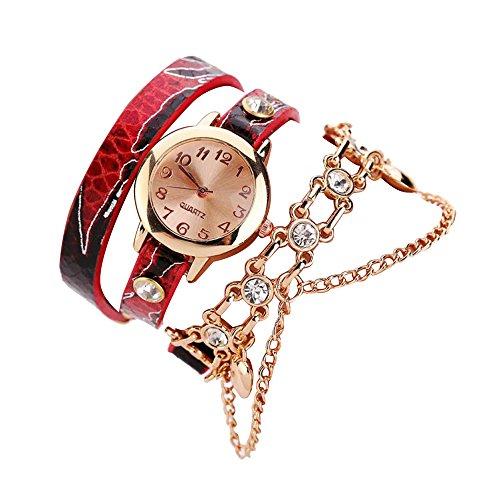 Sunnywill Neue Mode Leder Strass Nieten Kette Armband Armbanduhr Quarzuhr für Frauen Mädchen Damen (A)