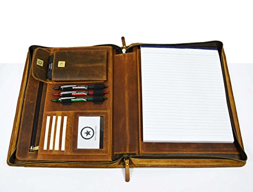 Premium Genuine Leather Business Portfolio and Professional Organizer, With a Zippered Closure,Tan, By Aaron Leather