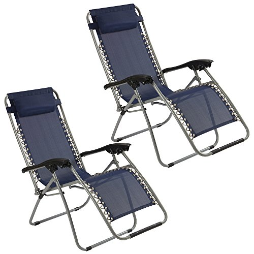 Zero Gravity Chair Recliner Chair with padded Cushion Headrest Folding for Outdoor use Camping, Beach as Reclining Sun Lounger, Deck Chair (Pack of 2, Navy Blue)