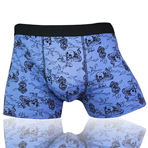LDA GET Fresh Männer Baumwollmischung Unterwäsche Boxer, Sexy Shorts Schädel Männliche Komfortable Unterhose-Blau - Kapitän Unterwäsche Kostüm