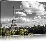 Riesiger Eiffelturm in Paris Schwarz/Weiß, Format: 100x70 auf Leinwand, XXL riesige Bilder fertig gerahmt mit Keilrahmen, Kunstdruck auf Wandbild mit Rahmen, günstiger als Gemälde oder Ölbild, kein Poster oder Plakat