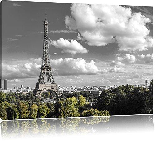 Riesiger Eiffelturm in Paris Schwarz/Weiß, Format: 120x80 auf Leinwand, XXL riesige Bilder fertig gerahmt mit Keilrahmen, Kunstdruck auf Wandbild mit Rahmen, günstiger als Gemälde oder Ölbild, kein Poster oder Plakat
