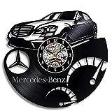 Asver Mercedes Benz Logo Schallplatte Wanduhr Dekoration Wall Clock