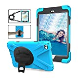 Apple ipad mini 4 h�lle 7,9 Zoll, Nnopbeclik dreilagig Heavy Duty Soft Silikon Hard Bumper Case Eingebauter St�nder + Handschlaufe + Schultergurt Sto�fest Langlebig Robuste ipad mini 4 H�llen silikon - Hellblau Bild