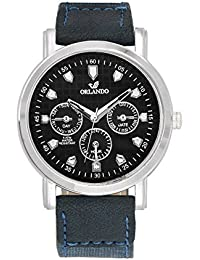 Orlando® Branded Japan Movement Chronograph Look With Black Dial & Blue Leather Belt Watches For Men - W1302BU2B