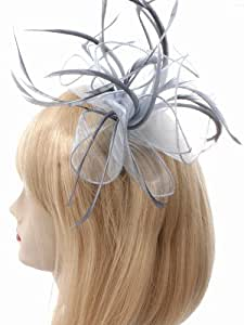 Looped Fabric & Feather Fascinator On Comb Silver Grey Ref: 107