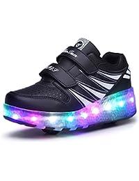 Jomotala Kids Roller Schuhe Jungen und Mädchen LED Automatische Licht Blinkende Schwarze Schlittschuhe Kinder Art und Weise Turnschuhe mit dem Rad