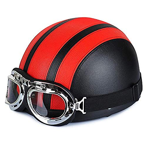 KidsBike Helm und PadVerstellbarer Kinderskateboard Helm Motorrad Herren Sommer Harley LadiesLightweight Locomotive Safety Half Cap Visier Specialized for Men Women...