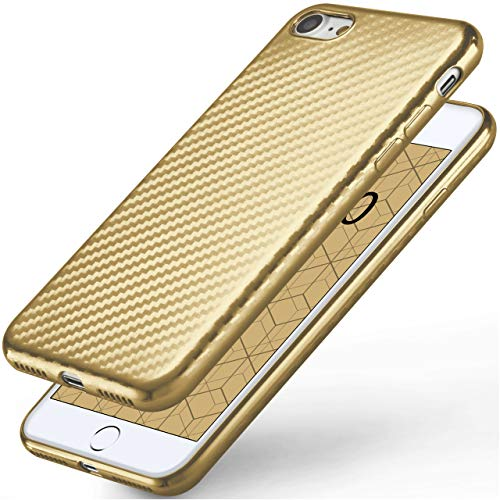 moex Apple iPhone 7/8   Hülle Gold Karbon Optik Pulse Back-Cover Schutzhülle Ultra-Slim Silikon Handy-Hülle für iPhone 7/8 Case Carbon Silikonhülle Tasche